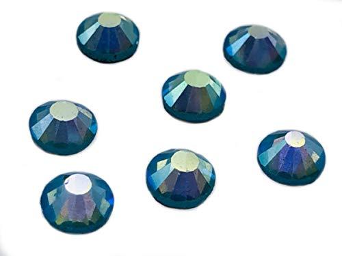 Eimass, DMC-Hotfix-Strasssteine, Glas-Diamanten, Kristalle, Edelsteine, Paket mit 1.440Kristallen,  mit klebender Rückseite zum Heißkleben, Aquamarine AB, 4 mm
