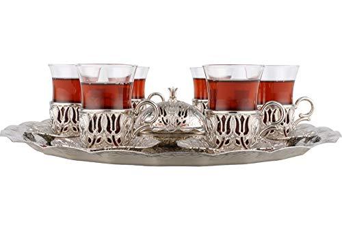 Dekonaz | 6er | Osmanische Tee Set | 15 teilig | Silber | Hc026