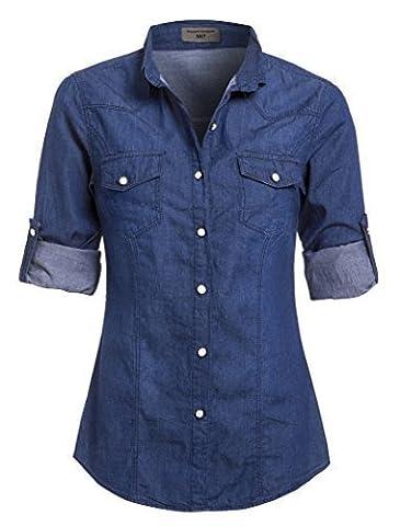 SS7 Nouvelles Femmes Chemise En Jeans, Taille 8 - 14, Jeans Bleu Clair, Indigo - Indigo, 36