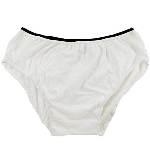 Herren Cotton Einweg-Unterwäsche Panties handliche Slips für Travel Fitness weiß (10PK) (X-Large - Taille 39
