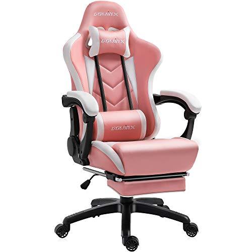 Dowinx Gaming Stuhl Ergonomischer Racing Stil Lehnstuhl mit Massage Lordosenstütze, Büro Sessel für Computer-PU-Leder-E-Sport-Gamer Stühle mit Ausziehbarem Fußraste (weiß&rosa)