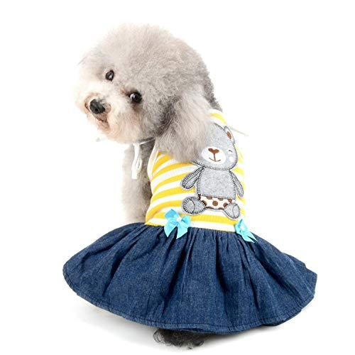 SELMAI Bär gestreiftes Shirt Prinzessin sonnkleid für kleine Hunde Katzen Welpen Sommerkleid Outfits Stufenrock Party Kostüm Yorkie Chihuahua Shih Tzu Kleidung - Gelber Stufenrock