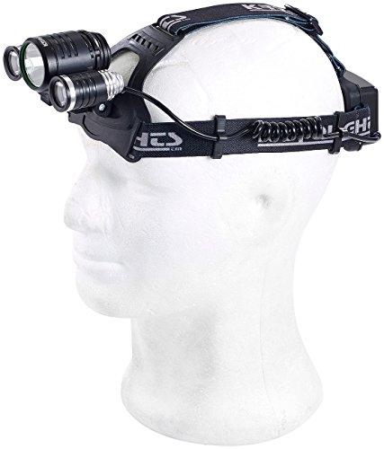 KryoLights Kopflampe: Akku-Stirnlampe SL-1720.c mit 3 Cree-LEDs, 20 Watt, 1.800 Lumen, IPX4 (Stirnlampe für Sport, Jogging, Laufen, Trekking, Wandern, Walking, Reisen, Camping)