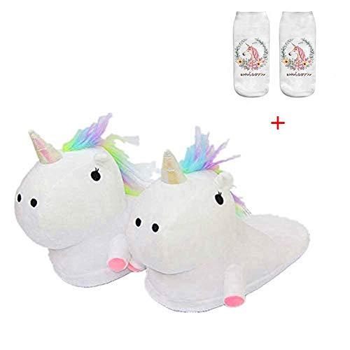 SKY TEARS Zapatillas de Felpa Unicornio Mujer Pantuflas Animales Niña por Casa Invierno para Adulto Talla Europea: 36-44 (Blanco-C)