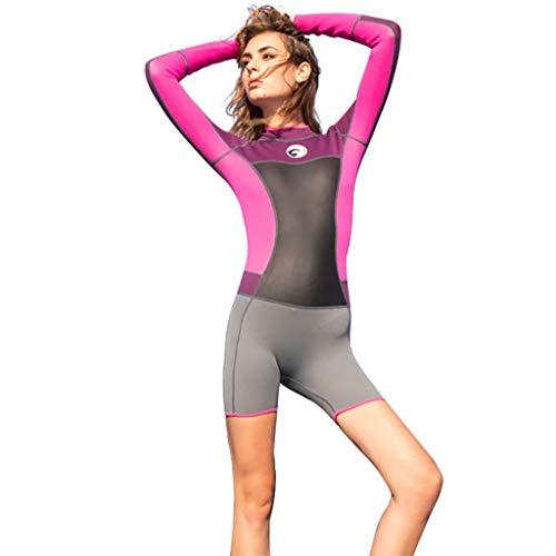 Cebbay - Mujer Cuerpo Completo Trajes de Neopreno Volver Zip Pieles de Buceo Deportivo, Manga Corta de Una Pieza para Practicar Snorkeling.(Rosa Caliente,Small)
