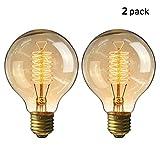 KINGSO 2pack Vintage Glühbirne E27 G80 60W Dimmbar Warmweiß Edison Glühlampe Retro Nostalgie Antike Beleuchtung 220V mit CE/ROHS Zertifizierung