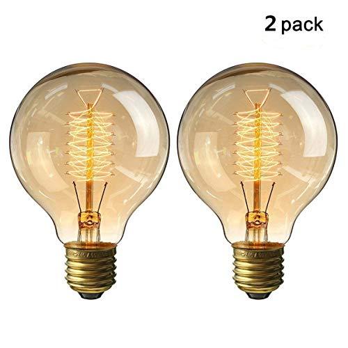 KINGSO 2pack Vintage Glühbirne E27 G80 60W Dimmbar Warmweiß Edison Glühlampe Retro Nostalgie Antike Beleuchtung 220V mit CE/ROHS Zertifizierung -
