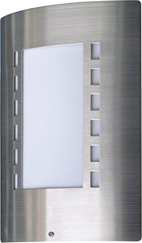 Lampada da Parete Smartwares 5000.087 Messina, Sensore Giorno/Notte, IP44, Acciaio Inox