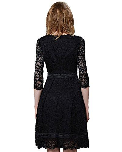 ASCHOEN Damen Spitzenkleid Abendkleid Vintage Off Schulter Knielang A-Linie Cocktailkleid Retro Spitzen Langarm Kleid Schwarz-1