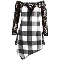 Luckycat Moda para Mujer Casual Off Shoulder Cold Shoulder Mejor Venta De Encaje Ribete Camiseta Blusa Tops Tops Mujer Verano Fiesta Abrigos Invierno De Mujer OtoñO