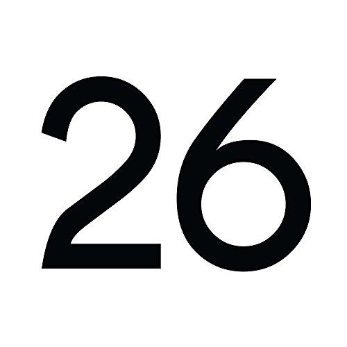 Zahlenaufkleber Nummer 26, schwarz, 30cm (300mm) hoch, Aufkleber mit Zahlen in vielen Farben + Höhen, wetterfest - 26 Hohe Metall