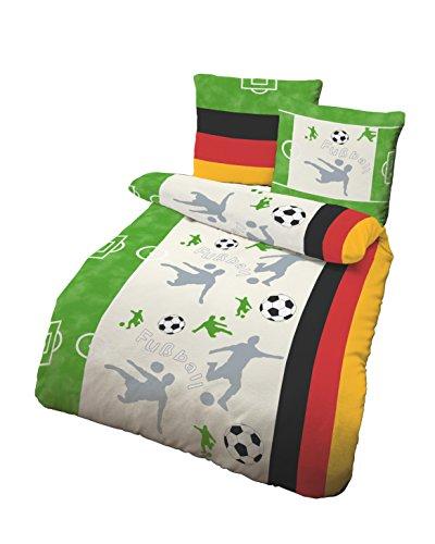 Träumschön Fußball Bettwäsche mit Deutschlandflagge Kleine und große Fans geeignet | Deckenbezug 135x200, Kissenbezug 80x80 | 100% Baumwolle