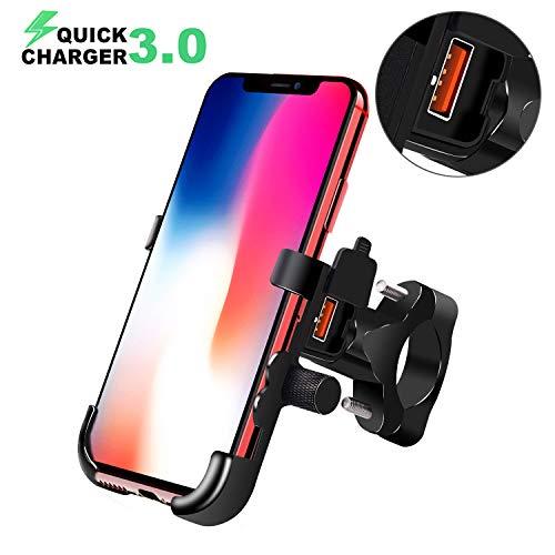 BlueFire Motorrad Handyhalterung, mit QC3.0 Quick Charger USB Ladegerät, 360° Drehbare Wasserdicht Motorrad Handy Halter für Alle 4 Inch zu 6,5 Inch Handy GPS (Motorradhalterung Handy)