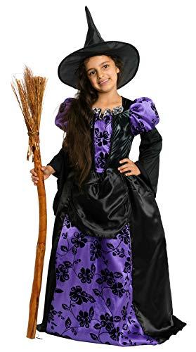 (Magicoo Königin Hexenkostüm Kinder Mädchen lila schwarz & Hexenhut - schickes Halloween Kostüm Hexe Kind, Gr. 110-140 (134/140))