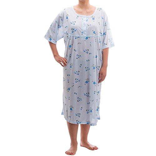 Lucky - camicia da notte estiva a maniche corte, stampa floreale, taglie: 3xl-6xl, in jersey, toni pastello hellblau xxxl