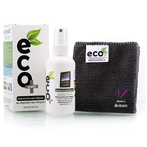 Ecomoist Bildschirmreiniger, Naturprodukt ohne Chemikalien, 100ml, inkl. Mikrofasertuch (Touchscreen-kit Für Laptop)