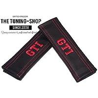 2/x Sicherheitsgurt Abdeckungen Pads Wei/ß Leder Stickerei GT Line Edition