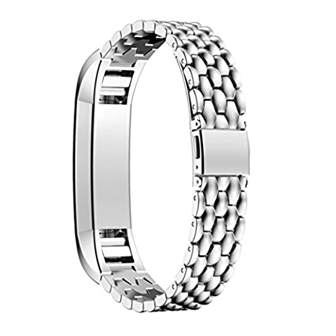 Fitbit Alta HR Replacement Strap, HARRYSTORE Outdoor Sports Adjustable Stainless Steel Replacement Watch Band Bracelet for Fitbit Alta HR Watch (Silver)