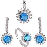 Set di gioielli topazioio blu Collana di gioielli topazioio blu 3 pezzi Splendida collana di gioielli con medaglione, anello