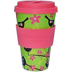Ecoffee Cup Widdlebirdy Verde, Rosa 1pieza(s) taza y tazón - Taza/vaso (Solo, 0,4 L, Verde, Rosa, Fibra de bambú, Silicona, 1 personas(s), 1 pieza(s))