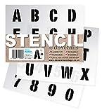 Plantillas del Alfabeto - 3 cm de altura - Numeros & Numeros 0-9, Capitales mordernas - en 3 hojas de 200 x 148mm