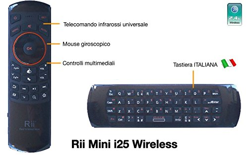 Rii Mini i25 Wireless (layout ITALIANO) - Mini tastiera con Mouse giroscopico e telecomando infrarossi universale per Smart TV, Mini PC, HTPC, Console, Computer