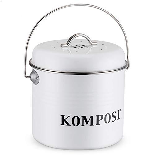El Contenedor de Compost de 5L, Cubo de Cocina Vintage con Tapa, Cubo de Filtro de Carbón for Desechos Interiores, Cubo de Contenedor for Basura, Carrito de Reciclaje (Capacity : 5L, Color : White)