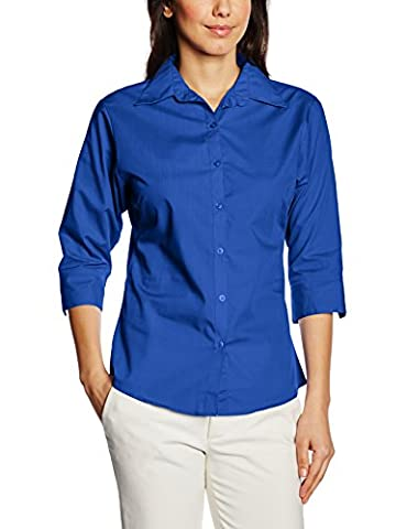 Premier Workwear Women's Ladies Poplin 3/4 Sleeved Blouse, Blue (Royal), 24