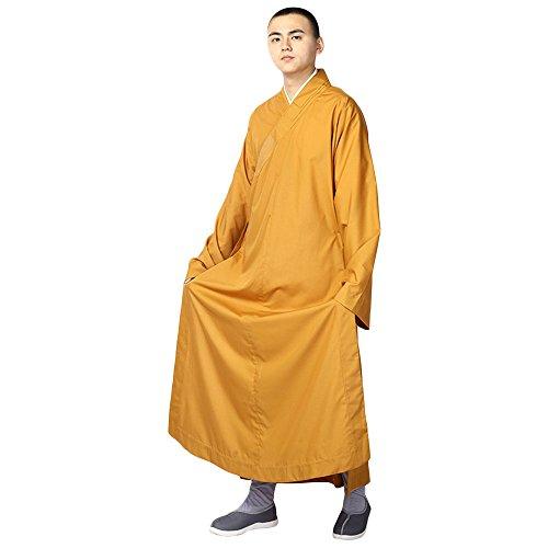 Buddistische Mönche Kostüm Robe - Chinesisch Traditionell Buddhistisch Taoistisch Kleidung Kampfkunst Shaolin Kung Fu Langärmelige Uniform Langes Gewand Stehkragen (Gelb, 172-176 cm) - Krieger Kleidung Tragen