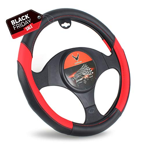 Black Red Steering Wheel Cover Universal Car Van Truck Fit 38cm Middle Size