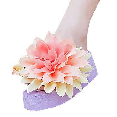 Zhenfu Femme Pantoufles & Amp; Flip-flops Été Pu Extérieur Décontracté Talon Plat Blanc Fleur Noir Bleu Violet Rougissant Rose Violet