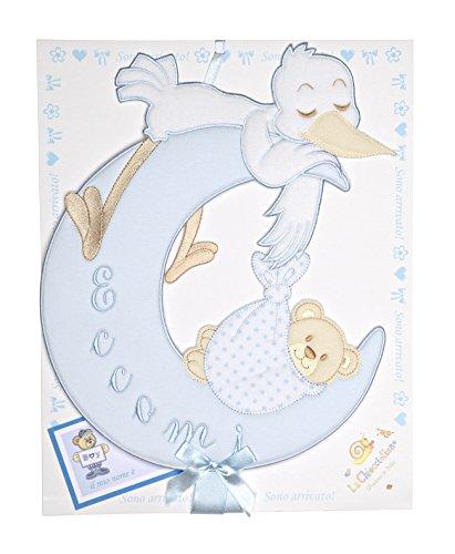 Fiocco nascita cicogna con luna azzurro