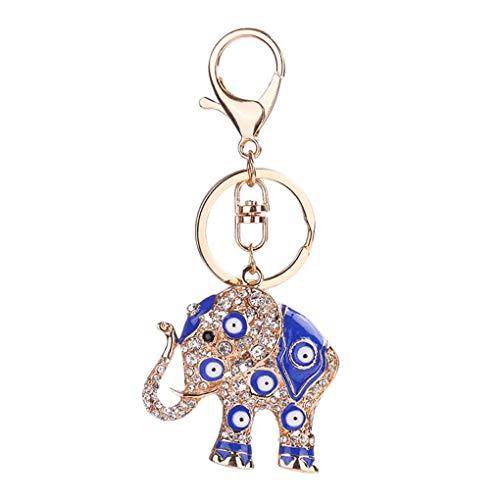 Windy5 Anillo titular de la clave llavero del coche del elefante d ojo azul embutida Rhinestone llavero de aleación de cristal Animal