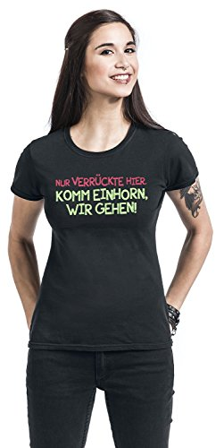 0d32407220d0 Girl-Shirt Schwarz Schwarz Einhorn Nur Verrückte Hier. Komm, Wir Gehen!  Girl-Shirt Schwarz Schwarz ...