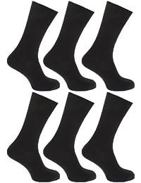 FLOSO - Chaussettes striées non élastiquées 100% coton (lot de 6 paires) - Homme
