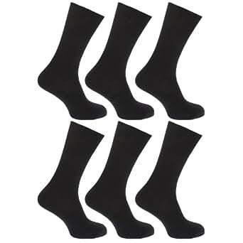 FLOSO® Mens Ribbed Non Elastic Top 100% Cotton Socks (Pack Of 6) (UK Shoe 6-11, EUR 39-45) (Black)