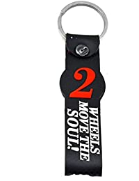 Faynci Wheels Move The Soul Double Sided Silicon Racing Bike Keyrings & Keychains (Red/Black)