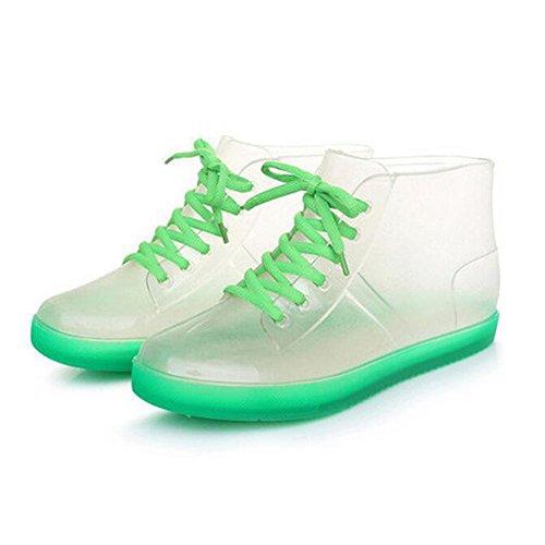 Meijunter Summer Femmes Transparent Candy Colors Rainboots Bottes de pluie Ladies Caoutchouc Rain Boots Shoes Chaussures nautiques green