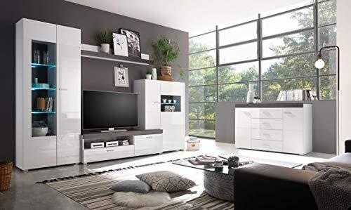 Dreams4Home Wohn-Set \'Modo 2\'-B/H/T:300x200x35-42cm Weiß MDF Hochg. Dark Concret, Beleuchtung:mit Beleuchtung