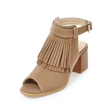 RTRY Donna Sandali Gladiator Comfort Fleece Estate Autunno Abbigliamento Casual Gladiator Comfort Chunky Heel Mandorla Nero 2A-2 3/4In US7.5 / EU38 / UK5.5 / CN38