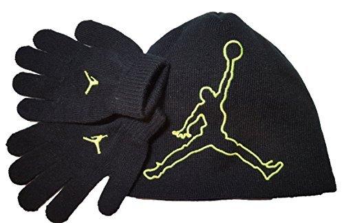 Nike Jordan Jumpman 23 Black Green Beanie Hat Glove Gift Set 8A1554 Sz Ages 8/20 (Handschuhe Jordan)