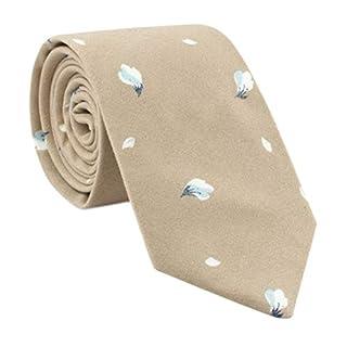 ACVIP Men's Skinny Casual Tie Vintage Floral Print Necktie (Khaki)