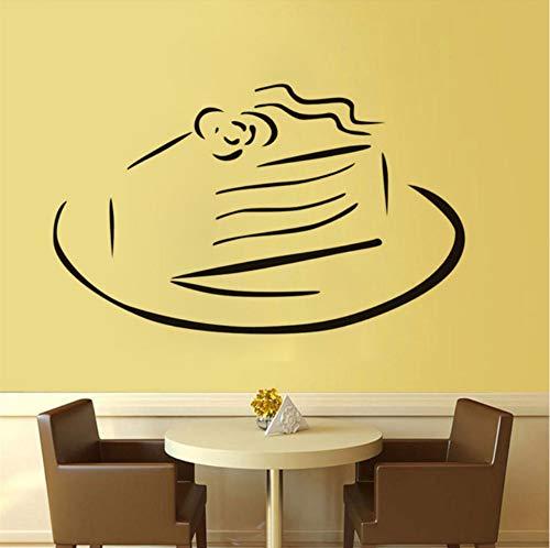 chablone Süße Kuchen Auf Einer Platte Wandaufkleber Diy Vinyl Klebstoff Home Decals Kunst Poster Sofa Wand Dekoration 59x36 cm ()