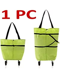Portable Tug, Folding Trolley Shopping Bag With Wheels, Reusable Foldable Shopping Trolley Bag Basket, Folding...