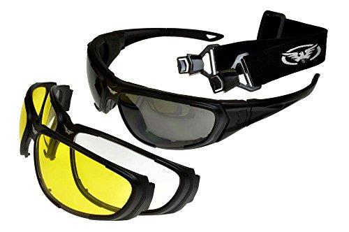 Global Vision QuickChange Interchangeable Sunglasses/Goggles 3 Lenses Black Large Size