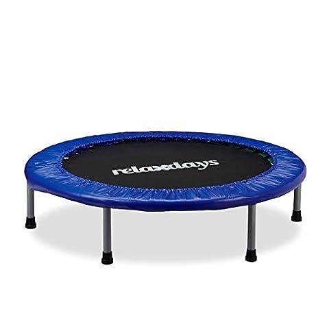 Relaxdays Trampolin Kinder, Faltbar, Max. Personengewicht: 45 kg, HxBxT: 22 x 96 x 96 cm, blau-schwarz