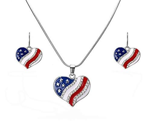Unbekannt Générique Schmuck-Set Halskette Anhänger Herz Strass Bedruckt Flagge USA + Ohrringe