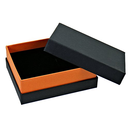 hochwertige Karton Schmuck Etuis Schmuckdose Box für Ringe Ohrringe Anhänger schwarz orange 10x8x4cm (Box Schmuck)