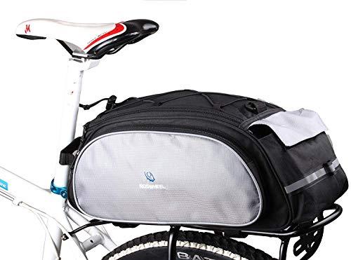 DCCN Gepäckträgertasche 13L Fahrradtasche Packtasche mit Schultergurt - Schwarz
