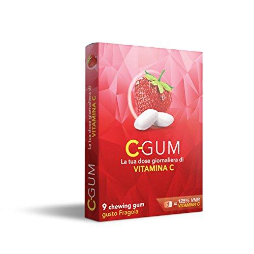C-GUM Integratore di Vitamina C |Dose Giornaliera| Sistema Immunitario - Energetico - Antiossidante - Stanchezza | 9 gomme - Gusto Fragola